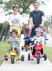 Kai and Piper and Nicco on bikes 03.14.14